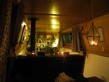 Boat interior at night